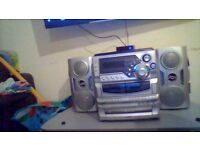 goodmans hi fi 3 cd player 2 cassette and radio with remote