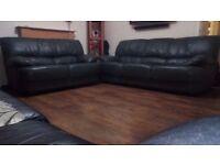 Green Leather Sofa 3 & 2 Pieace