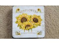 6 x SUNFLOWER COASTERS - BRAND NEW IN PACKAGING