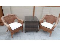 Large 2 Wicker chairs and rattan table