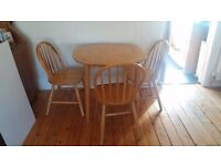 Pine Dining Room Table and 3 chairs