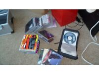 Box of Cds + Metal Case & Red Cd cabinet