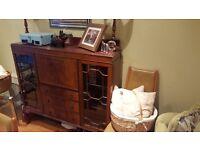 Vintage Retro Sideboard Side Board Dresser Cocktail Cabinet Bureau Queen Anne Style Feet 3 Drawer