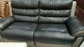 Ex display designer endurance leather black and grey electric reclining sofa