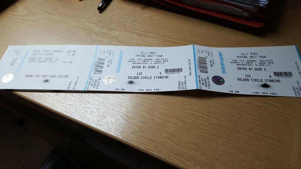 2 standing ticktes (Golden Circle) for Olly Murs at SSE Arena Belfast
