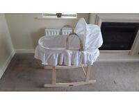 BRAND NEW CLAIRE DE LUNE ANGLAISE MOSES BASKET WITH ROCKING CLAIR DEUNE WOODEN STAND