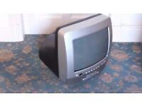 Silver 14inch BUSH portable tv with dvd drive.
