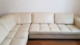 Maurice Villency Cream Leather L shape Sofa