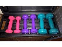 Set of workout fitness weights dumbbells 0.5kg 1kg 1.5kg