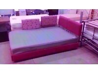 Pink European double / king size bed(140 x 200cm) with grey Ikea mattress. Clean