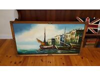 huge oil painting of a ships in ornate frame, signed