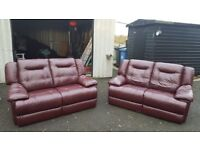 2 genuine leather sofas, double seats £250 or nearest offer