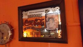 VINTAGE ORIGINAL SMALL ADVERTISING COLLECTABLE COCA COLA PUB MIRROR GC FAB HOME BAR MANCAVE DISPLAY