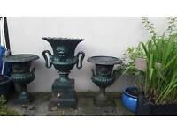 3 solid cast iron decorative garden urns