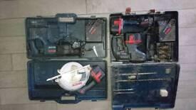 Bosh 24v drill. Circular saw, reciprocating saw and torch