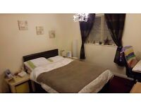 Double leather bed + mattress (duvet + sheets + pillows FREE