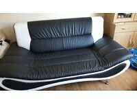 Black white sofa chair 2 and 3 seater
