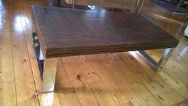 DESIGNER CHROME COFFEE TABLE SLEIGH