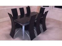 Black Glass Dining Table-Extendable