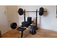 Everlast folding bench, 110kg weights, bar, curl bar and 2 x dumbbells