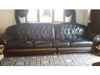 Black Gold And Crystal Italian Leather Sofa