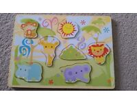 Wooden zoo puzzle board
