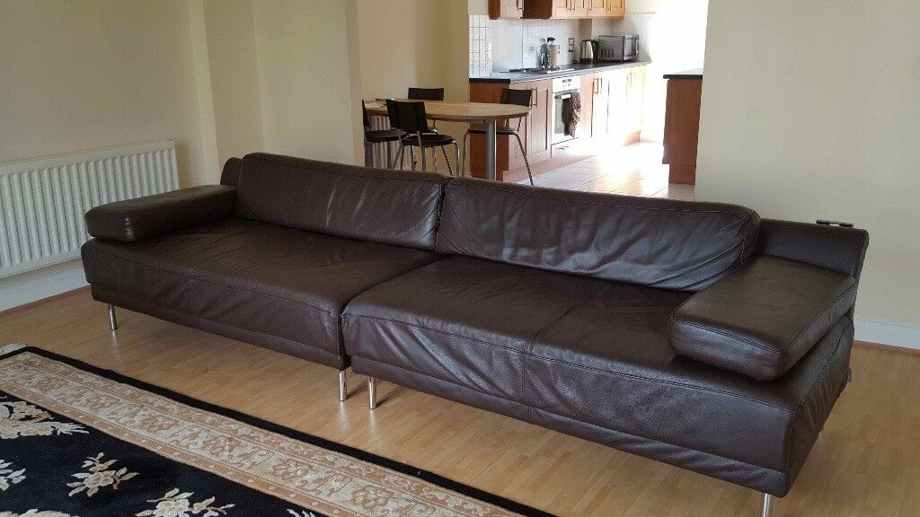 Brown leather modern Habitat Sofa - Great condition