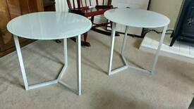 Next glass white side tables coffee table