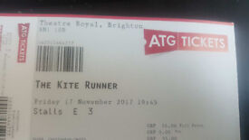 The Kite Runner 2 x 5th Stalls Row Tickets for 17th November Theatre Royal Brighton