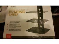 new on nox 3 black glass floating shelves