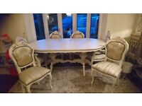 Handpainted French style Vintage Louis Georgian Large Dining table 6 Chairs set
