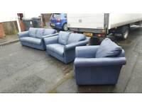3+2+1 dark blue leather sofa