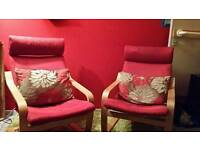 2 Ikea Poang Chairs and Matching Ottoman