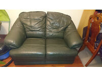 Dark Green Leather two seater sofa settee couch