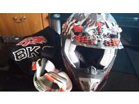 BKS Red motorcycle helmet size S With goggles New in carry bag