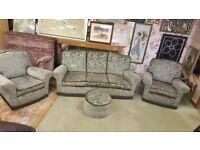 3 seat Sofa, 2 Arm Chairs & Pouffe