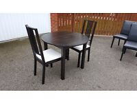 Ikea Black Bjursnas Round Dining Table & 2 Black & White Borje Chairs FREE DELIVERY (02544)