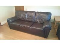 Brown - 3 seater leather sofa * 1 for sale & Brown - 2 seater leather sofa quantity two for sale