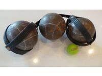 x3 Pair of French Metal Petanque - Boules With Holders OBUT