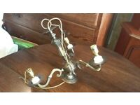 3 bulb shaded bronze ceiling light with 7 chain link & rose