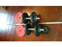 York / Weider dumbell and barbell set