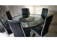 Thick Glass Round Rotating TurnTable and Chairs