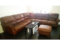 Large Brown Leather Sofa *MAKE OFFER*