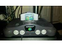 Nintendo 64 with everdrive and two controllers
