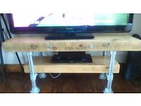 """BEAUTIFUL RECENTLY HAND MADE BESPOKE TV STAND, INDUSTRIAL STYLE,NO OFFERS (PIC SHOWS 50""""TV ON STAND)"""