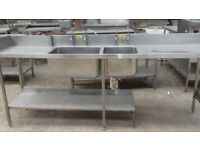 Commercial Double Sink Unit Stainless Steel 2.5m catering drainer shelves