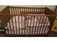 Cot with mettress, duvet set and bumpers - Ikea Leksvik