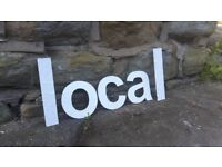Vintage Retro Reclaimed Salvage Shop Letters Pub Sign Industrial Local L O C A L Chrome White Silver