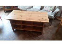 Pine coffee table and matching glass cabinet