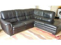 black quality leather corner suite